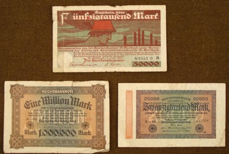 THREE GERMAN INFLATION MARKS FROM THE 1920'S