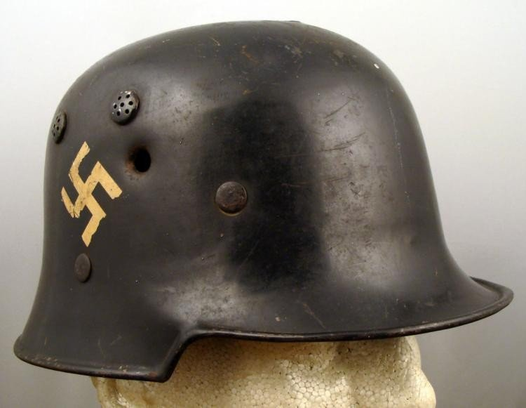 WWII Nazi 2 Decal Police Helmet w/ Bullet Holes