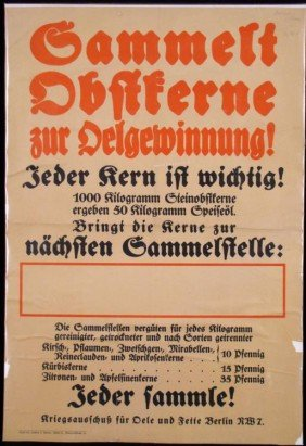 ORIGINAL WWI GERMAN WAR POSTER DONATIONS FOR WAR EFFORT
