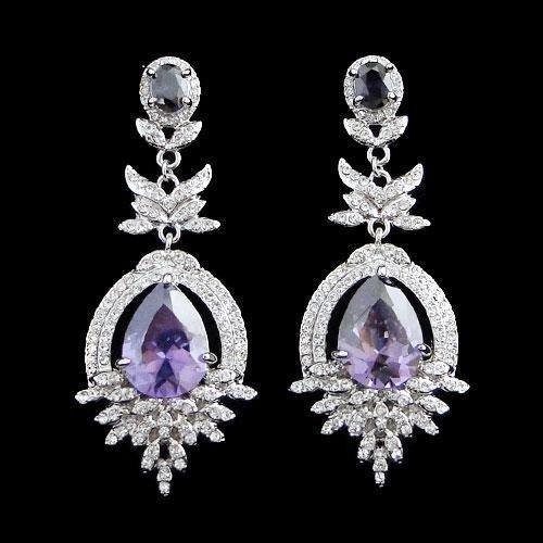 Brilliant Swarovski Crystal Teardrop Dangle Pierced Ear