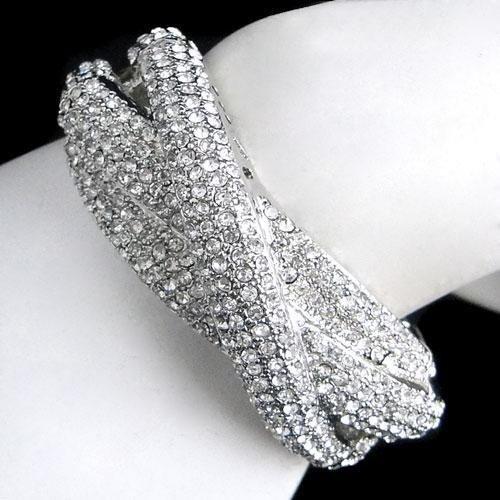 Swarovski Crystal Triple Row Bangle Bracelet
