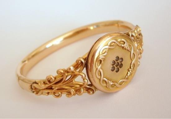 Vintage Victorian Era Vintage Gold Filled Locket Bracel