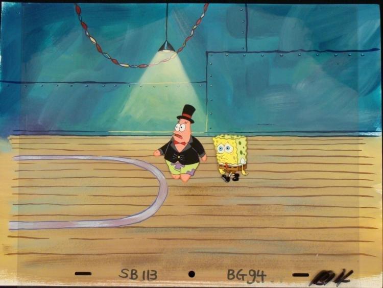 Orig SpongeBob Animation Cel & Background Patrick Party