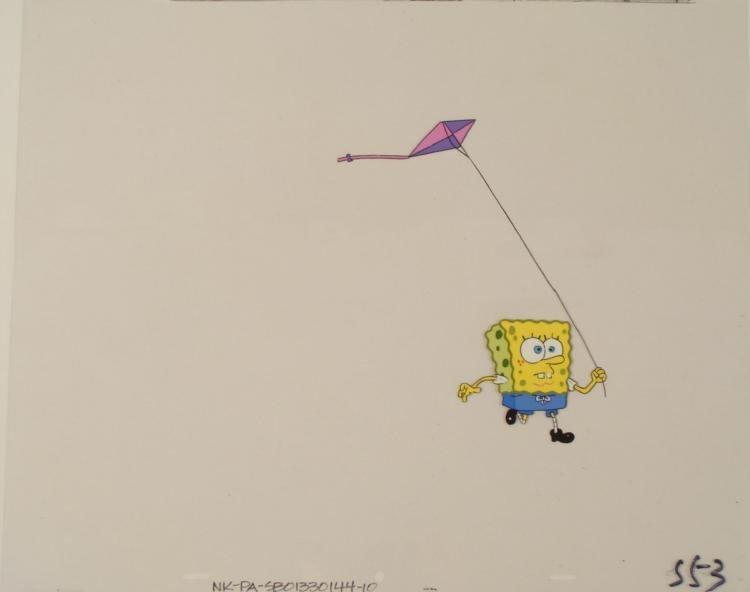 Running SpongeBob w Kite Big Original Animation Cel Art