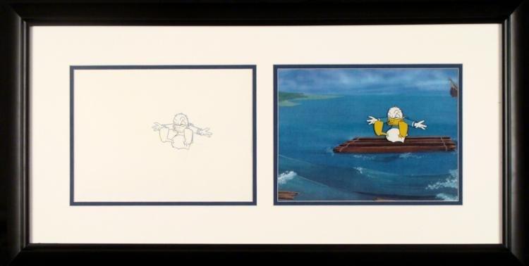 Cel Drawing Framed Donald Duck Animation Orig Drifting