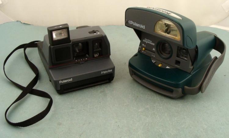 2 Vintage Polaroid Cameras One Step Express, Impulse UK