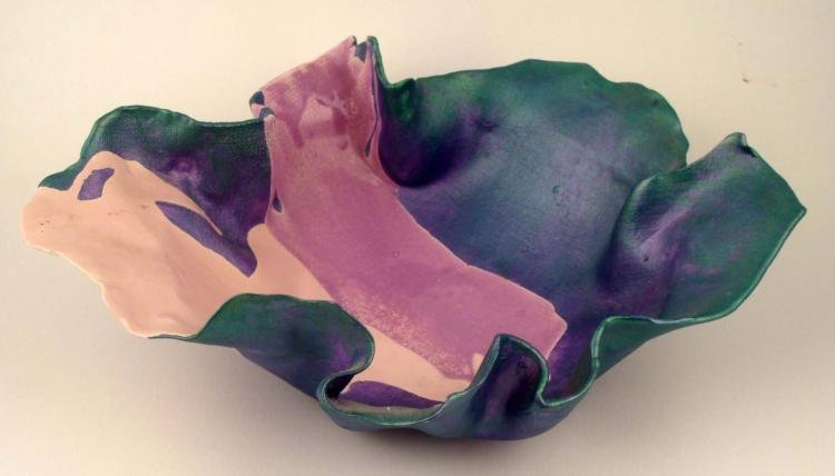 Pink & Green Free Form Fabric Art Glass Bowl Signed