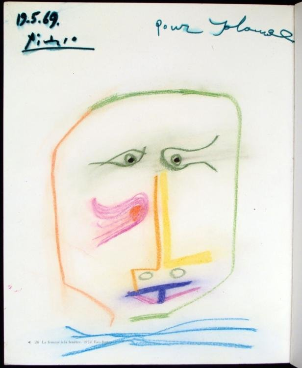 Picasso Original Drawing Signed In Beyeler Bale Book