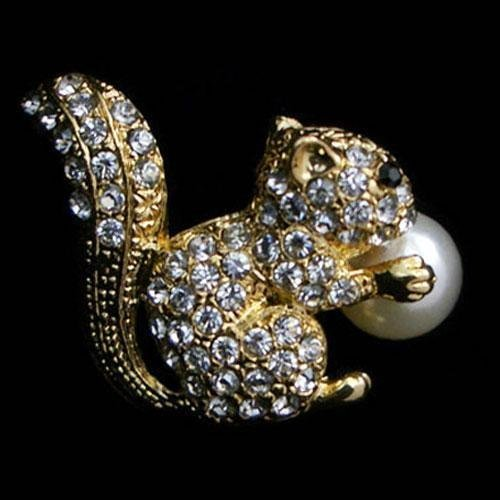 Unique Swarovski Crystal and Pearl Squirrel Brooch