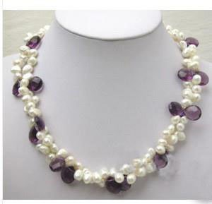 Gorgeous two row white Freshwater pearl and Amethyst N