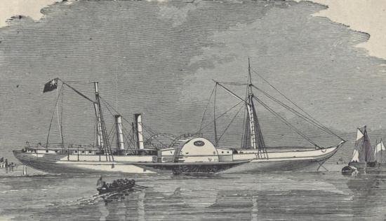 ORIGINAL Antique PRINT scene The Confederate Steamer ~