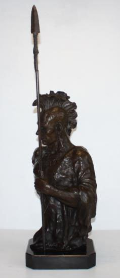 Enormous Bronze Bust Sculpture Indian Chief with Spear