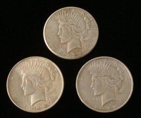1922-P, D, S (3) Silver Peace Dollars -Nice Grade