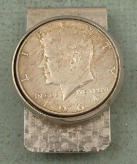 1964 Kennedy Half Coin Patterned Money Clip