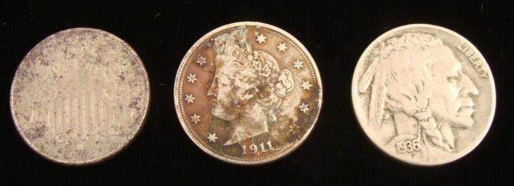 3 Diff Nickels 1867 Shield, 1911 V Nickel, 1936 Buffalo