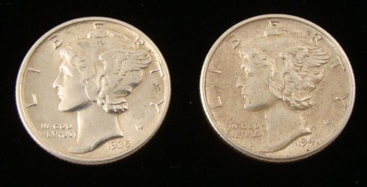 2 UNC Mercury Dimes 1935 & 1941-S