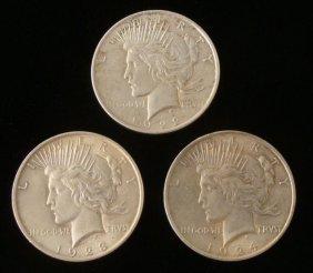 1922, 1923, 1924 (3) Silver Peace Dollars -Nice