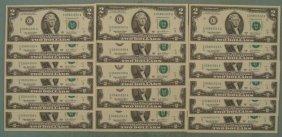 17 CU Consecutive # 2003-A $2 Bills Philadelphia Notes