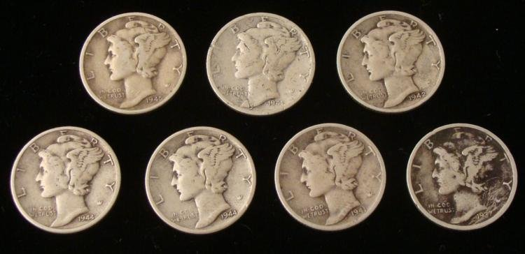7 Mixed Dates Mercury Silver Dimes 1937-1945