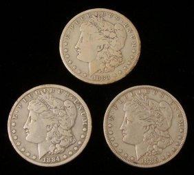 1883, 1884, 1885-O 3 Silver Morgan Dollars Coins
