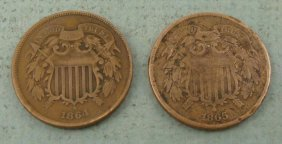 Hi-Grade 1864 & 1865 U.S. 2 Cent Pieces Nice Coins