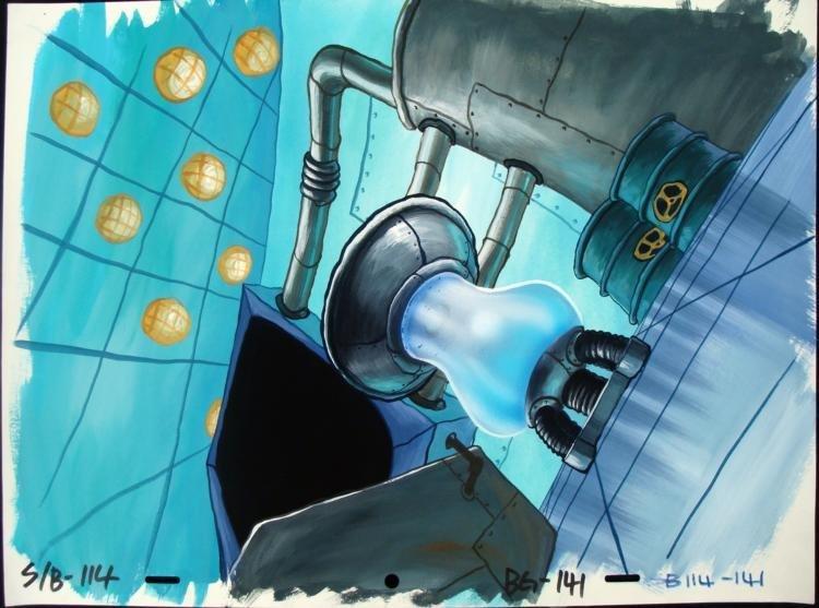 Spongebob KEEP OUT Background Animation Original Art