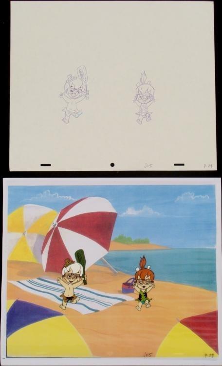 Original Production Drawing Cel Bam Bam Pebbles