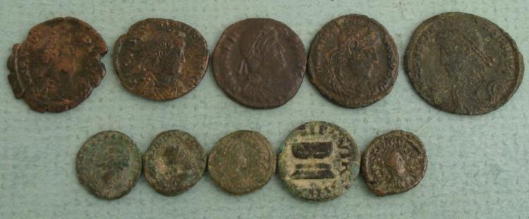 10 Ancient Roman Coins- Honorius Arcadius Valens - 2