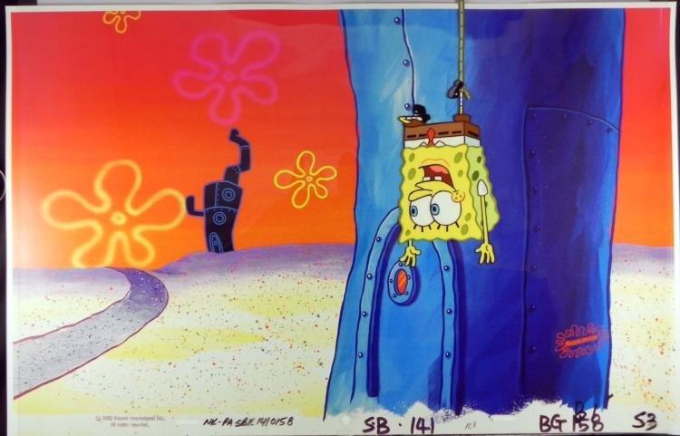 Orig SpongeBob Production Cel & Background -Hanging