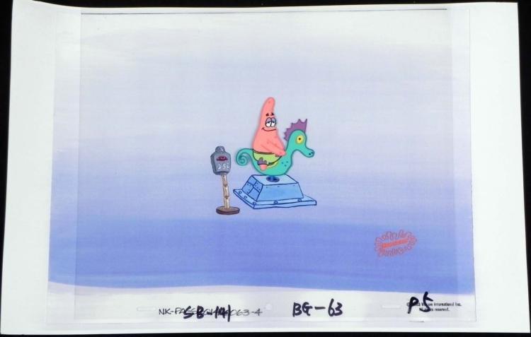 Orig SpongeBob Animation Cel & Background Patrick Ride