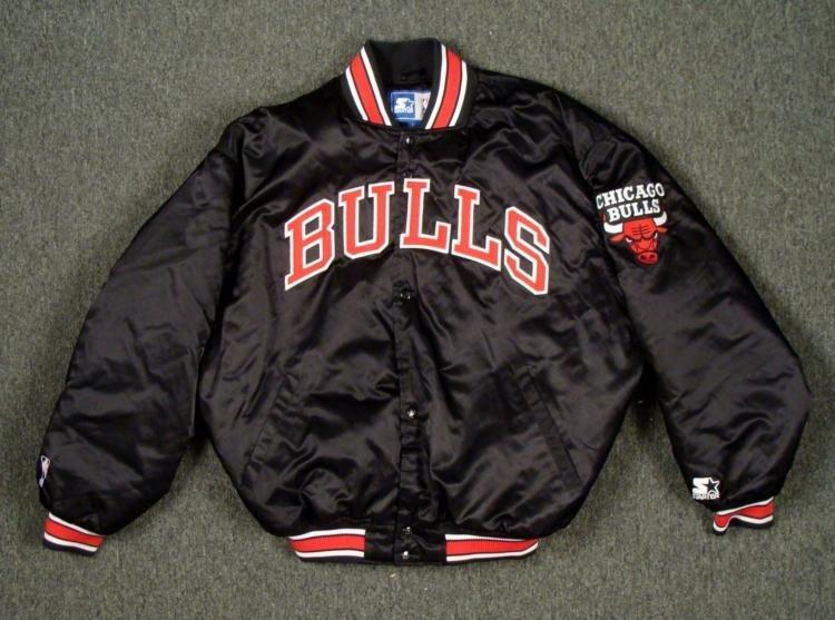 Chicago Bulls Starter Jacket Black Throwback Style XL