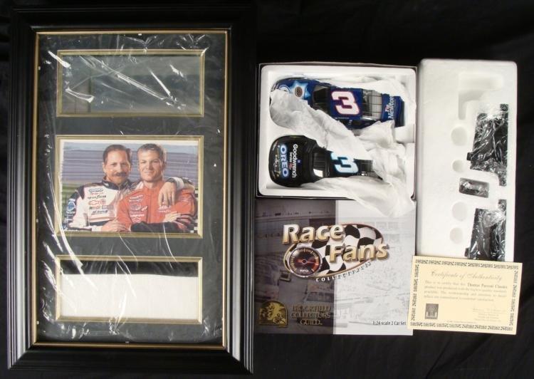 Dale Earnhardt Jr & Sr Shadowbox Display w/ Cars NASCAR