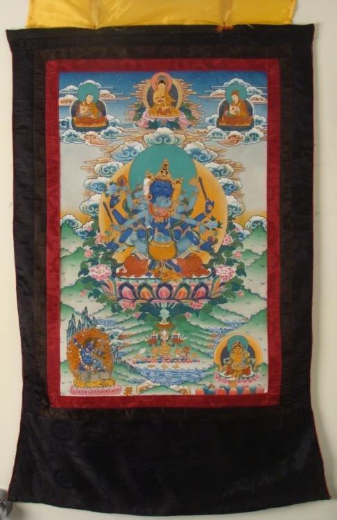 Buddhist & Hindu Silk Screen Scroll Tapestry w/Shiva