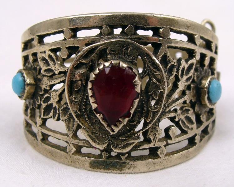 Antique Silver Bracelet with Ruby and Blue Gemstones