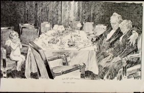 Charles Gibson Girl Orig Book Print 1896 The Last Guest