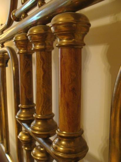 Vintage Brass & Marble Poster Bed King Size Frame - 4
