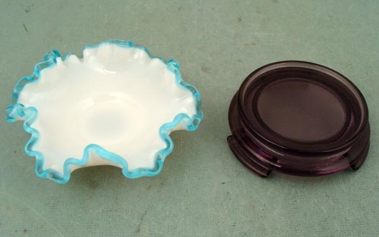 Fenton Glass Aqua Crest Bon-Bon Dish Candy Bowl w/Stand
