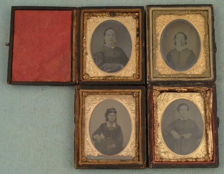 """4 Antique Tintype Photos Women in Cases 2 1/2"""" x 3"""""""