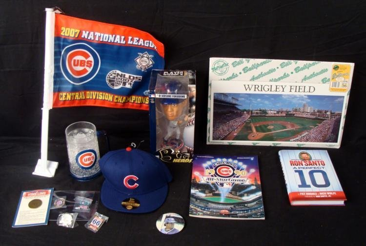 Chicago Cubs Lot- Mug Pins Bobble Head Book Hat Photo