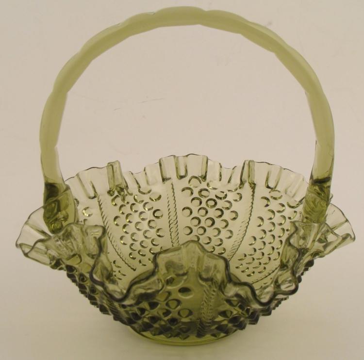 Fenton Colonial Green Hobnail Basket Vintage Glass