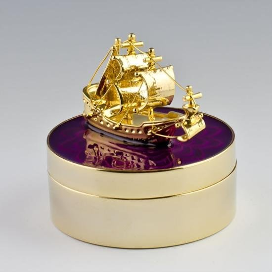 Golden Ship Faberge Style Jewelry Box