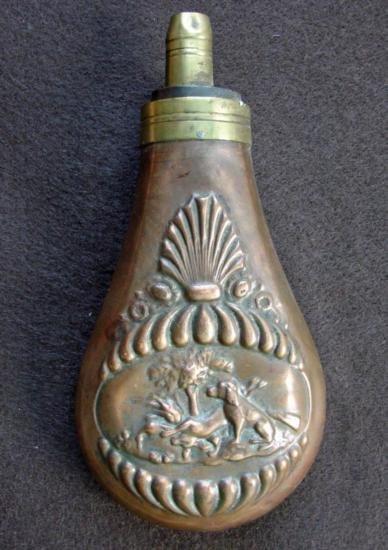 Powder Flask depicting Hunting Dog Scene