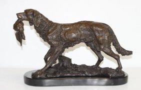 Excellent Bronze Sculpture Hunting Dog with Quail