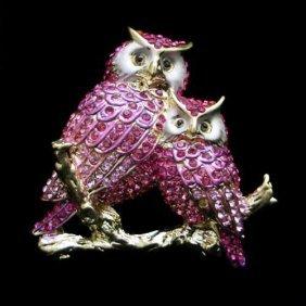 Gorgeous Pink Swarovski Crystal And Enamel Owl Brooch