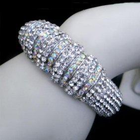 Clear Swarovski Crystal Classic Style Bangle Cuff Brace