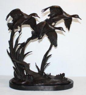 Fantastic Bronze Sculpture Three Flying Ducks