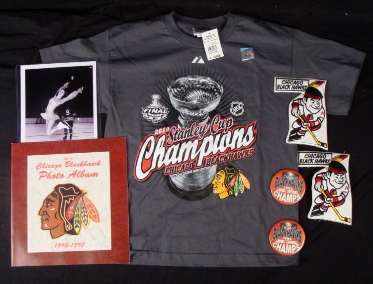 Chicago Blackhawks Lot Photo Album T-Shirt Patches Pins