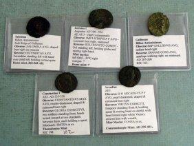 5 Ancient Roman Coins Salonina Gallienus  Arcadius