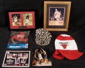 Chicago Bulls Lot- Framed and Signed Photos Hat Frisbee