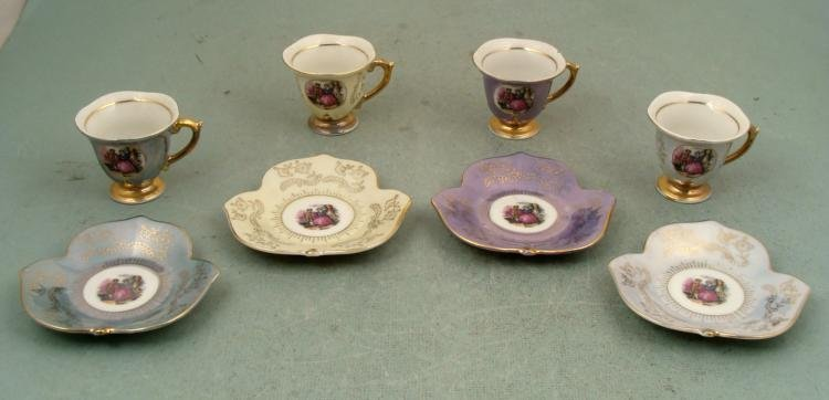 Antique Luster Fancy Rococo Style Small Tea Set 4 pc